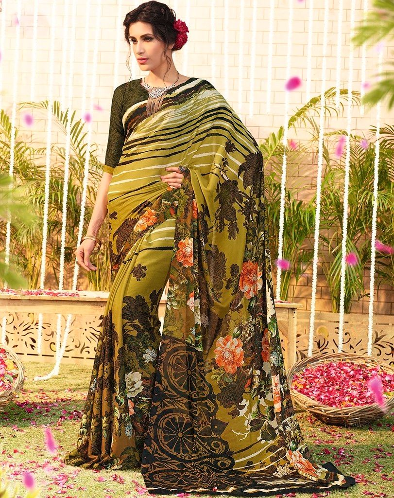Mehendi Green Color Chiffon Designer Function Wear Sarees : Gaurika Collection  NYF-1372 - YellowFashion.in