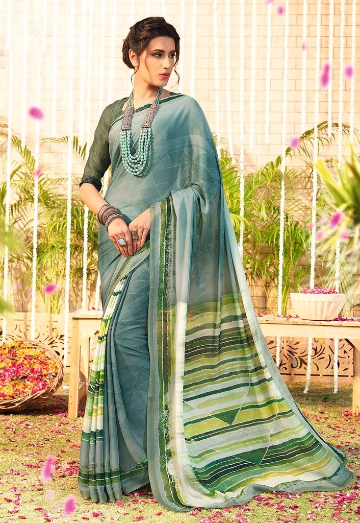 Grey Color Chiffon Designer Function Wear Sarees : Gaurika Collection  NYF-1373 - YellowFashion.in