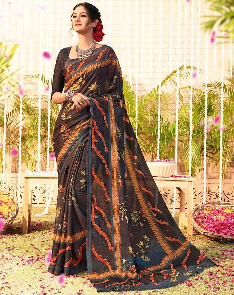 Dark Brown Color Chiffon Designer Function Wear Sarees : Gaurika Collection  NYF-1374 - YellowFashion.in