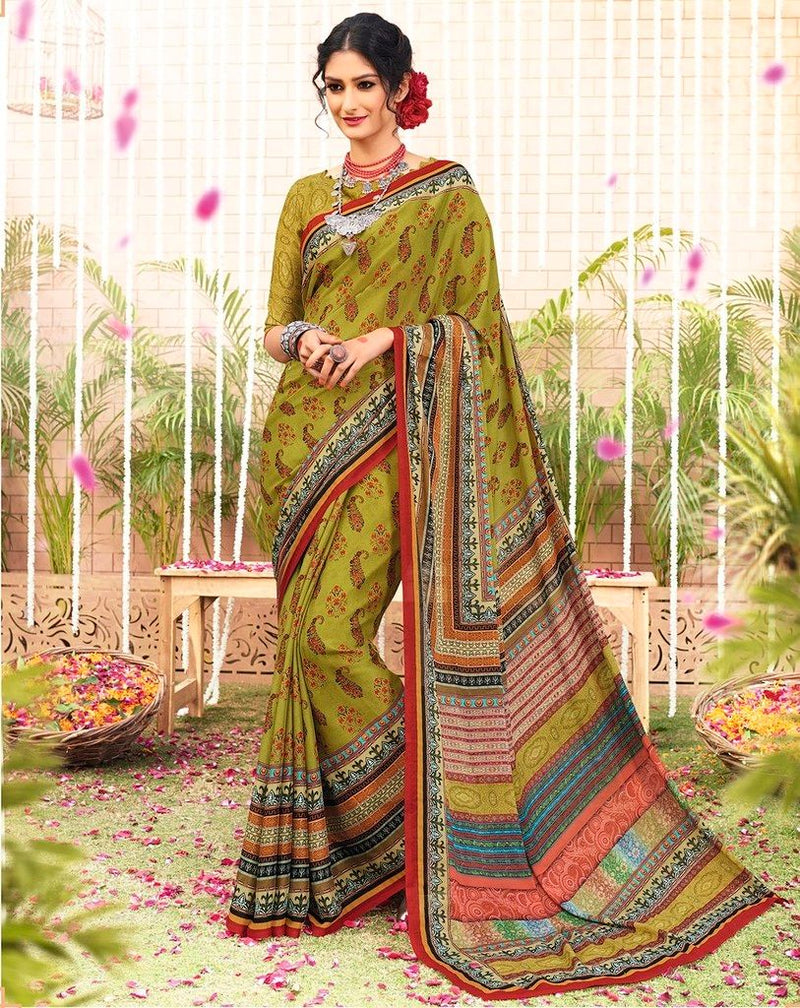 Mehendi Green Color Georgette Designer Function Wear Sarees : Gaurika Collection  NYF-1375 - YellowFashion.in