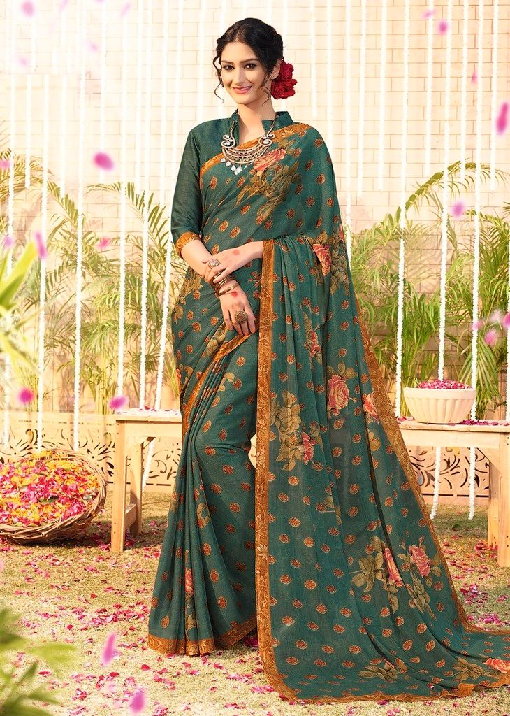 Rama Green Color Chiffon Designer Function Wear Sarees : Gaurika Collection  NYF-1376 - YellowFashion.in