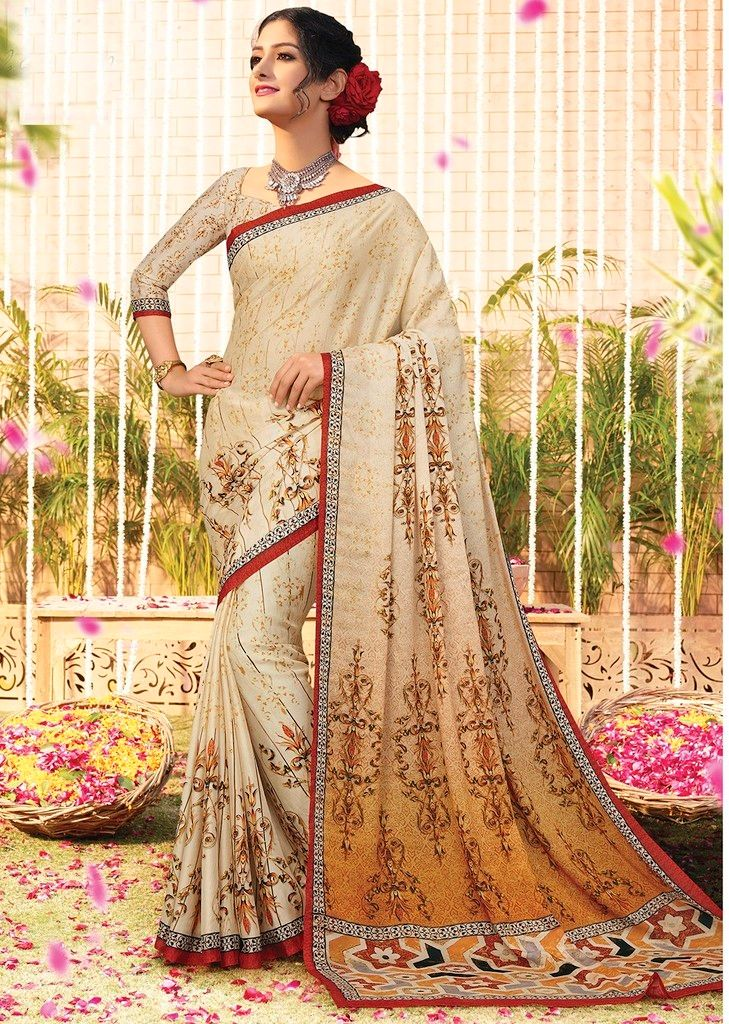 Cream Color Chiffon Designer Function Wear Sarees : Gaurika Collection  NYF-1377 - YellowFashion.in