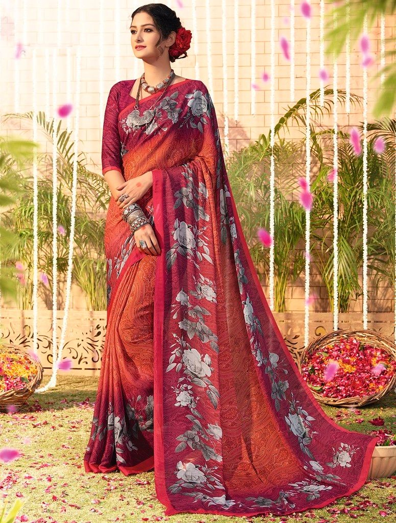 Orange Color Chiffon Designer Function Wear Sarees : Gaurika Collection  NYF-1378 - YellowFashion.in