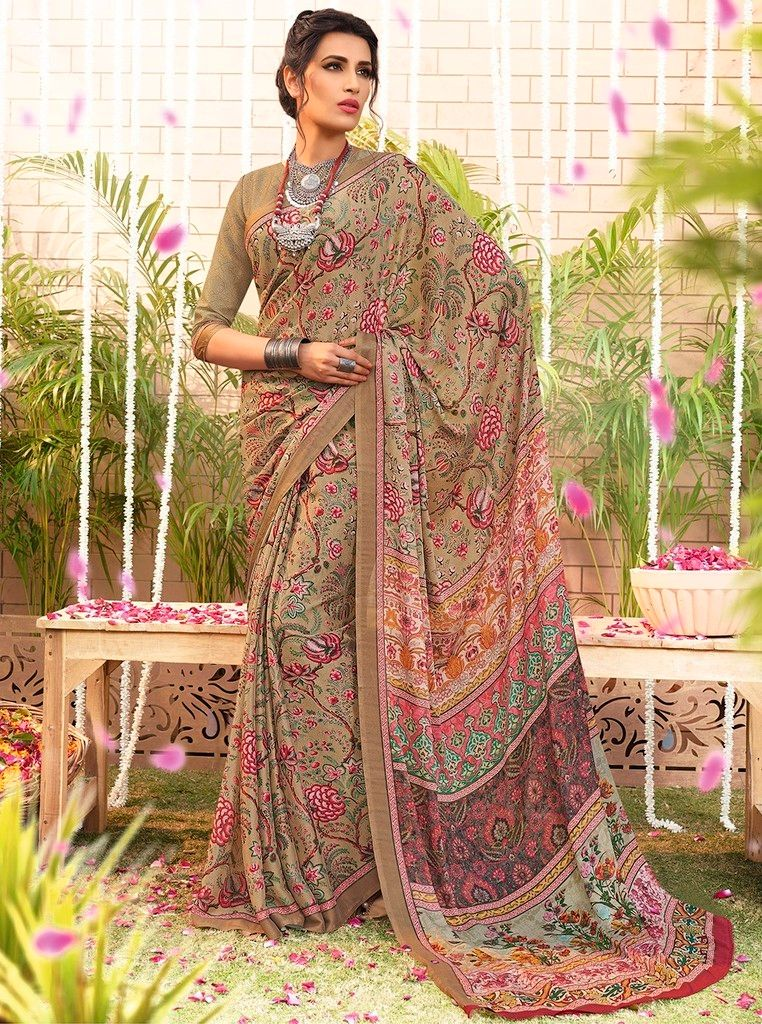 Beige Color Bhagalpuri Designer Function Wear Sarees : Gaurika Collection  NYF-1379 - YellowFashion.in