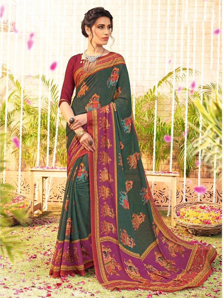 Green Color Bhagalpuri Designer Function Wear Sarees : Gaurika Collection  NYF-1381 - YellowFashion.in