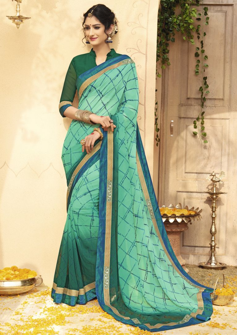 Green & Sea Green Color Chiffon Party & Function Wear Sarees : Manohara Collection  NYF-2390 - YellowFashion.in
