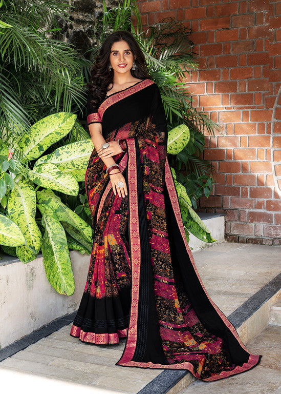 Black and Pink Color Georgette Casual Wear Saree -Black Angelica  Collection  YF#11139