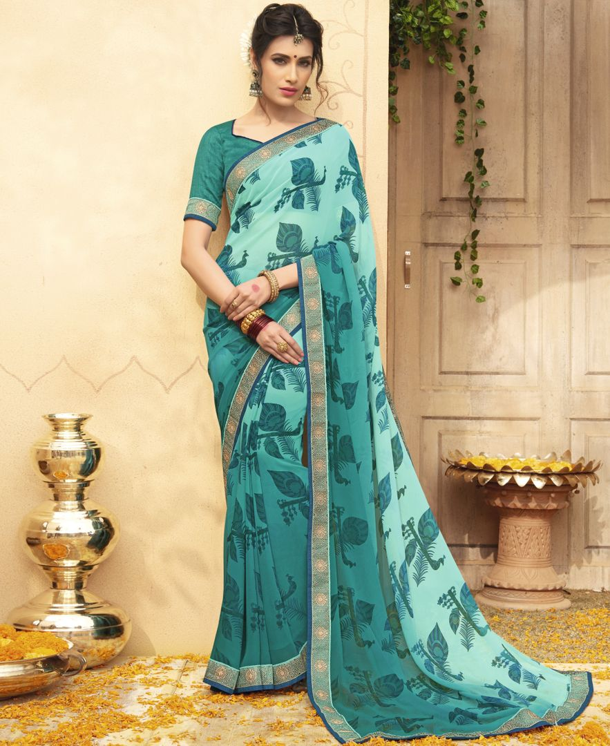 Aqua Blue Color Chiffon Party & Function Wear Sarees : Manohara Collection  NYF-2391 - YellowFashion.in