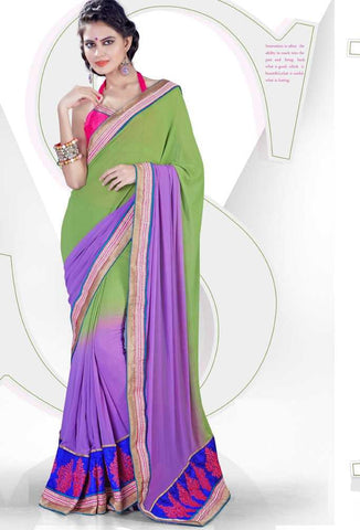 Green and Purple  Colour  Georgette  Material Casual Sarees : Karishma Collection -  YF-12143