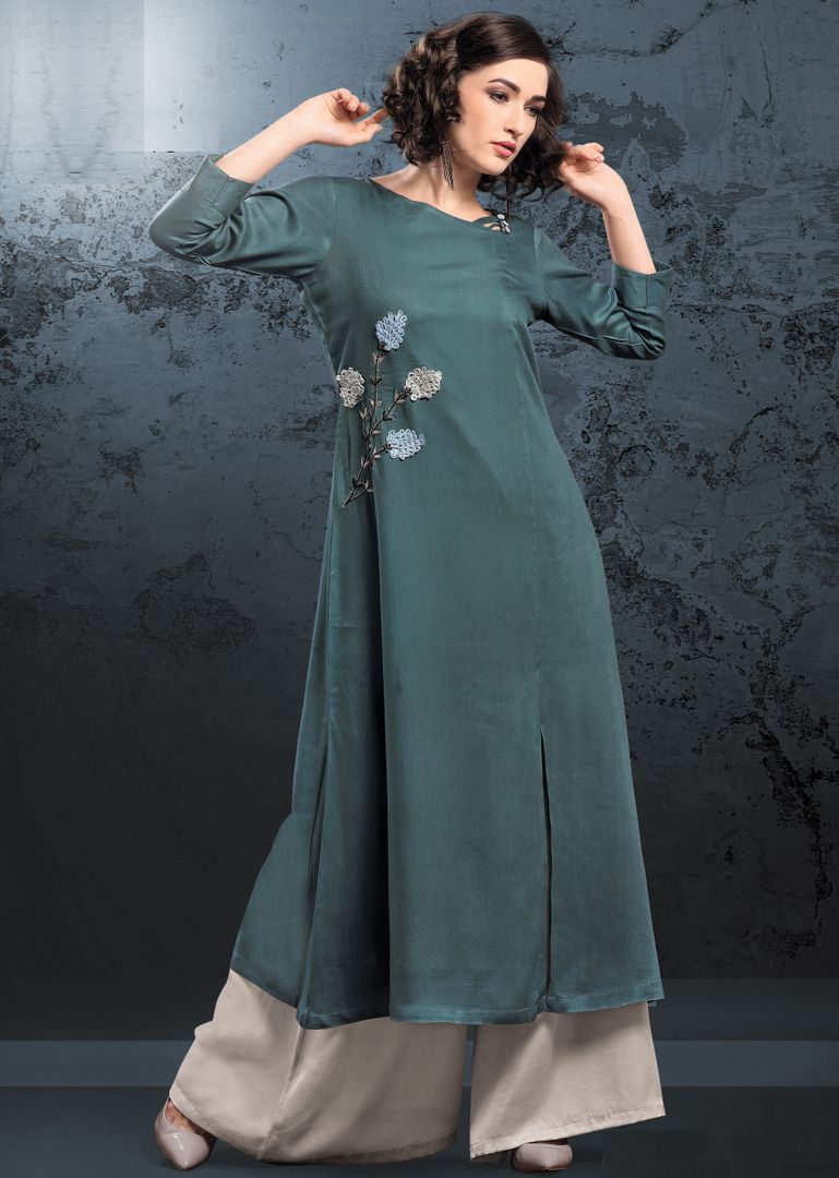 Dark Sea Green Color Rayon Readymade Kurti With Bottom : Monisha Collection NYF-3394 - YellowFashion.in