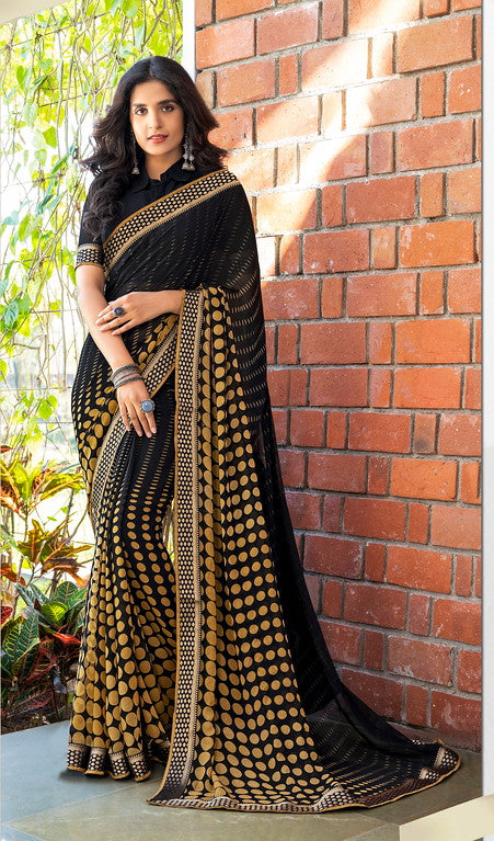 Black and Beige Color Georgette Casual Wear Saree -Black Angelica  Collection  YF#11141