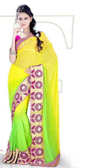 Yellow and Green  Colour  Georgette  Material Casual Sarees : Karishma Collection -  YF-12144