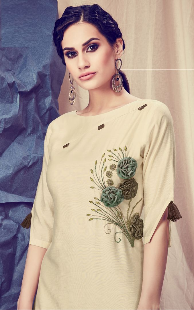 Cream Color Viscose Readymade Kurti With Bottom : Monisha Collection NYF-3423 - YellowFashion.in