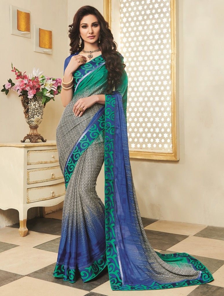 Multi Color Georgette Designer Function Wear Sarees : Gaurika Collection  NYF-1382 - YellowFashion.in