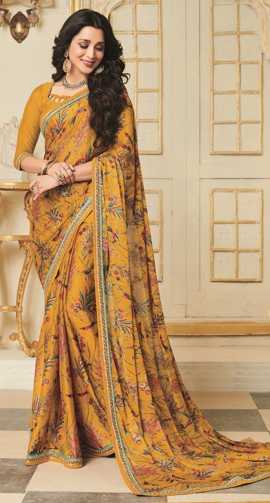 Mustard Yellow Color Georgette Designer Function Wear Sarees : Gaurika Collection  NYF-1384 - YellowFashion.in