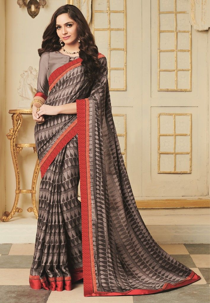 Grey Color Crepe Georgette Designer Function Wear Sarees : Gaurika Collection  NYF-1387 - YellowFashion.in