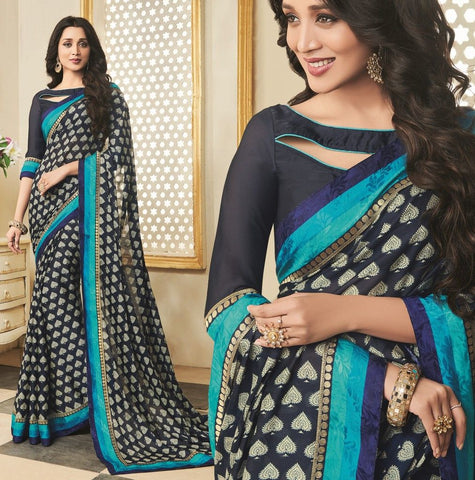 Blue Color Georgette Designer Function Wear Sarees : Gaurika Collection  NYF-1388
