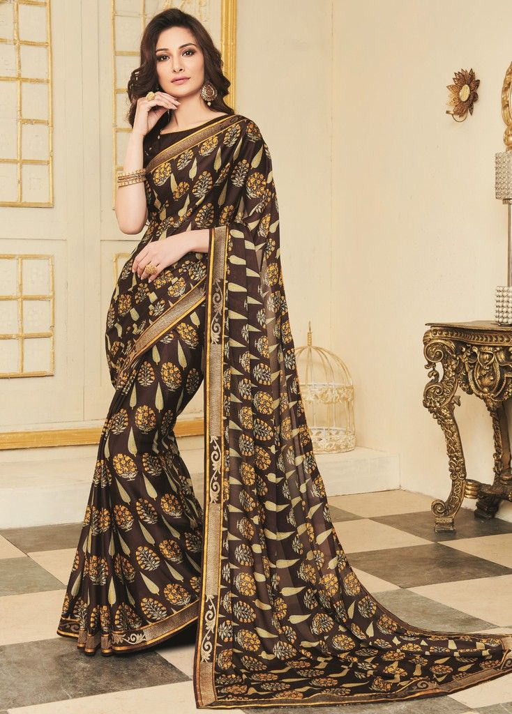 Brown Color Georgette Designer Function Wear Sarees : Gaurika Collection  NYF-1389 - YellowFashion.in