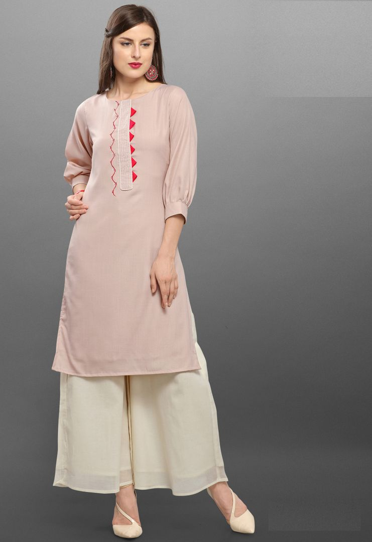 Baby Pink Color Cotton Slub Readymade Kurti With Bottom : Monisha Collection NYF-3426 - YellowFashion.in