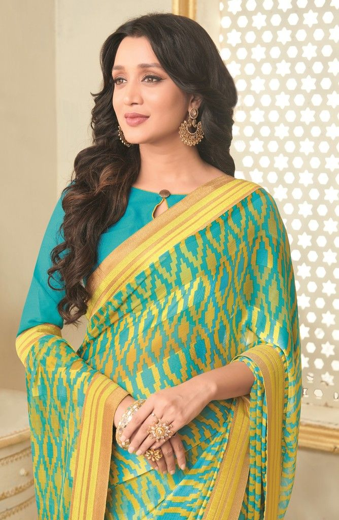 Sky Blue & Yellow Color Chiffon Designer Function Wear Sarees : Gaurika Collection  NYF-1390 - YellowFashion.in