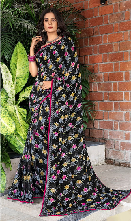 Black and Pink Color Georgette Casual Wear Saree -Black Angelica  Collection  YF#11148