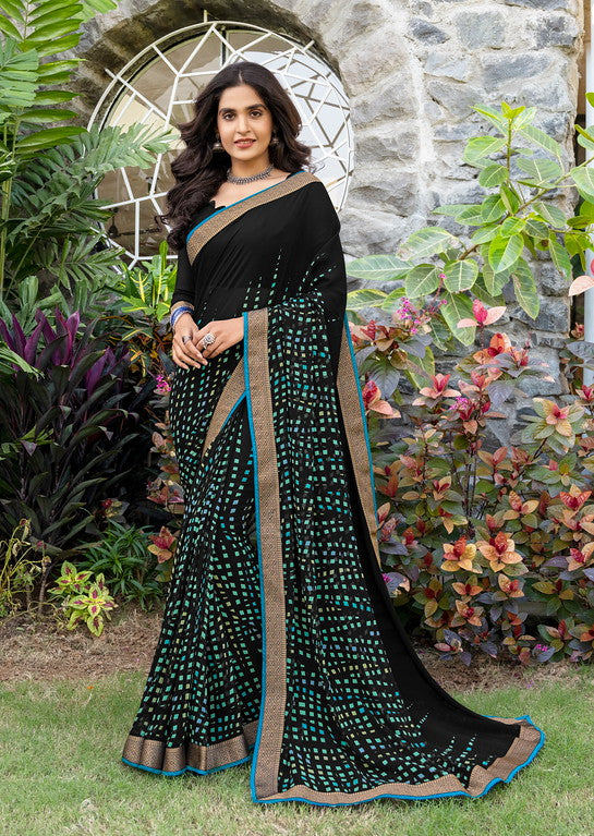 Black and Blue Color Georgette Casual Wear Saree -Black Angelica  Collection  YF#11149