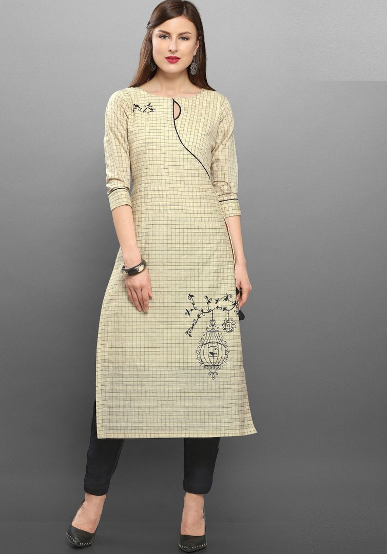 Cream Color Cotton  Readymade Kurti With Bottom : Monisha Collection NYF-3430 - YellowFashion.in