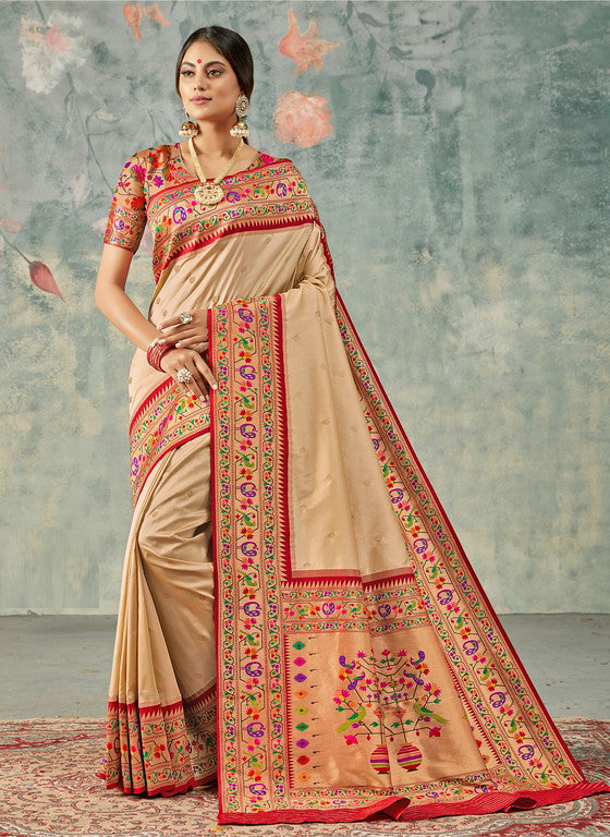 Off White and Red Color Paithani Traditional wear Sarees- Rigvedas Collection YF#10325
