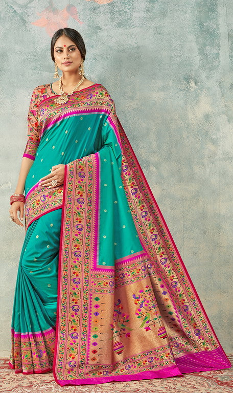 Firozi and Pink Color Paithani Traditional wear Sarees- Rigvedas Collection YF#10326