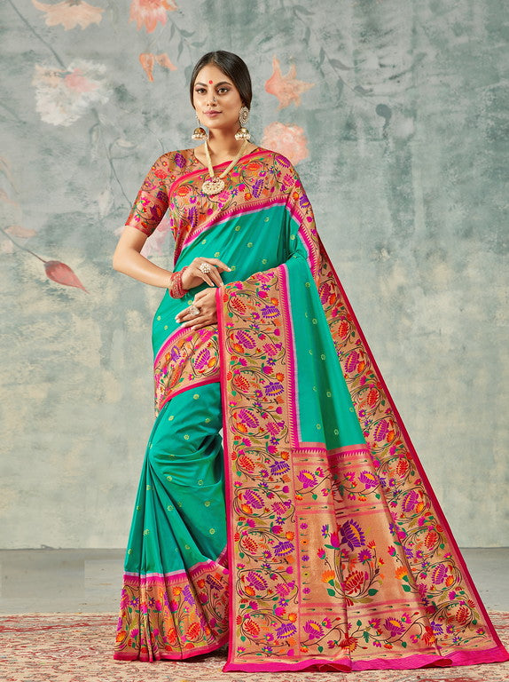 Green and Pink Color Paithani Traditional wear Sarees- Rigvedas Collection YF#10328