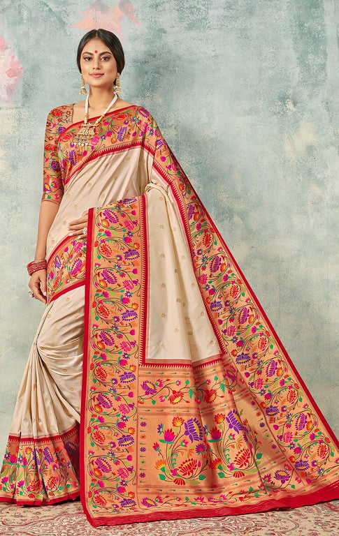Cream and Red Color Paithani Traditional wear Sarees- Rigvedas Collection YF#10329