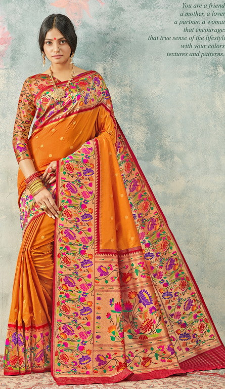 Turmeric Yellow  and Red  Color Paithani Traditional wear Sarees- Rigvedas Collection YF#10330