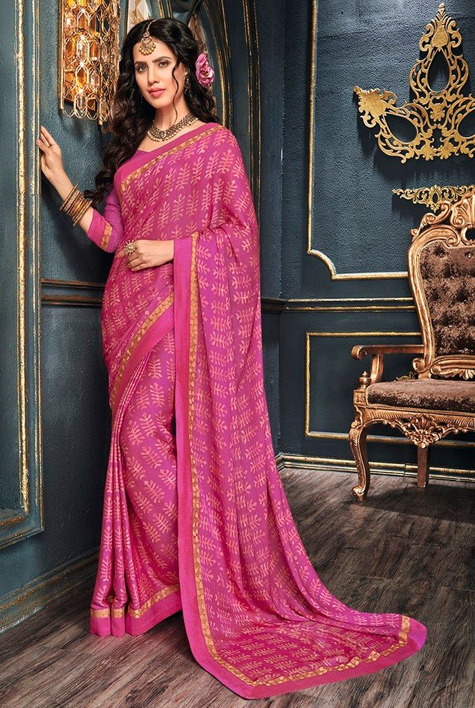 Pink Color Crepe Georgette Designer Function Wear Sarees : Gaurika Collection  NYF-1391 - YellowFashion.in