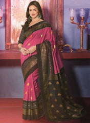 Pink and Black Color Sanganeri Silk Casual Occasion Sarees : Senoreeta Collection  YF-22992