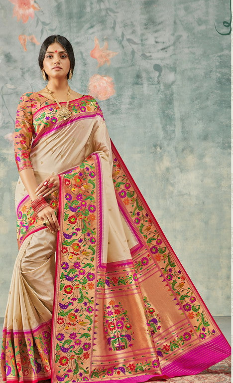 Cream and Pink Color Paithani Traditional wear Sarees- Rigvedas Collection YF#10332