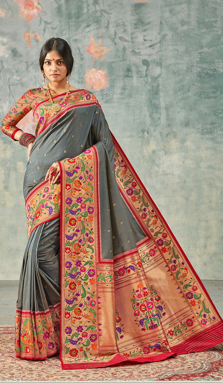 Grey and red Color Paithani Traditional wear Sarees- Rigvedas Collection YF#10333