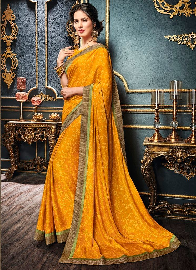 Mustard Yellow Color Crepe Georgette Designer Function Wear Sarees : Gaurika Collection  NYF-1392 - YellowFashion.in