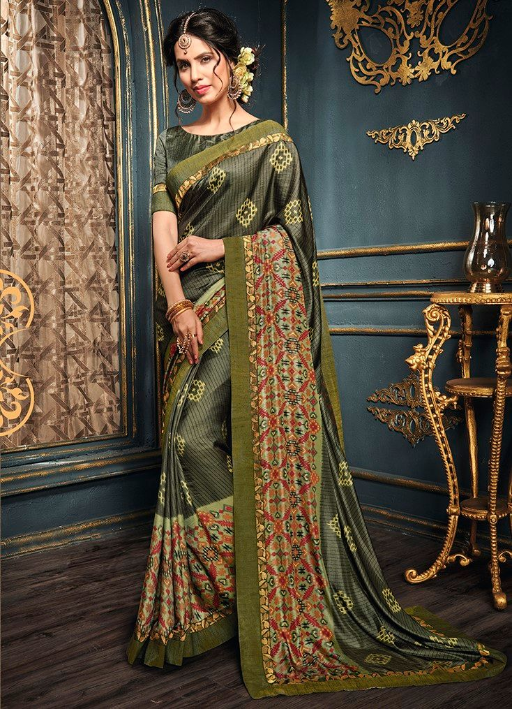 Olive Green Color Crepe Georgette Designer Function Wear Sarees : Gaurika Collection  NYF-1393 - YellowFashion.in
