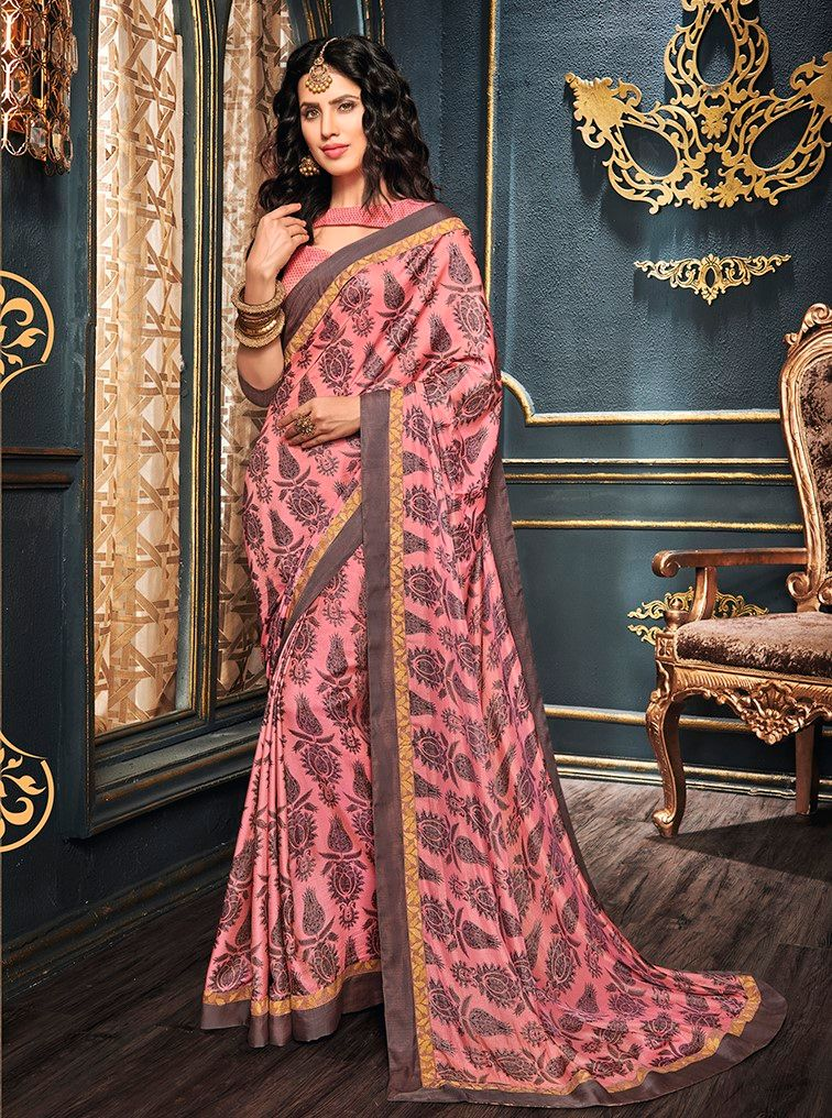 Pink Color Crepe Georgette Designer Function Wear Sarees : Gaurika Collection  NYF-1394 - YellowFashion.in