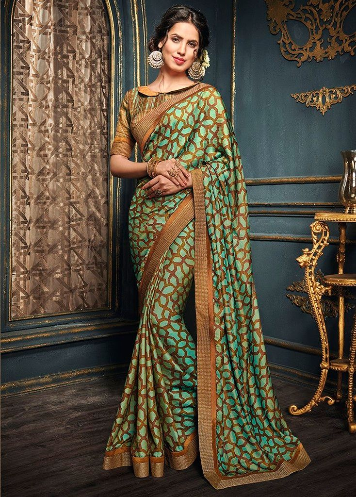 Green & Brown Color Crepe Georgette Designer Function Wear Sarees : Gaurika Collection  NYF-1395 - YellowFashion.in