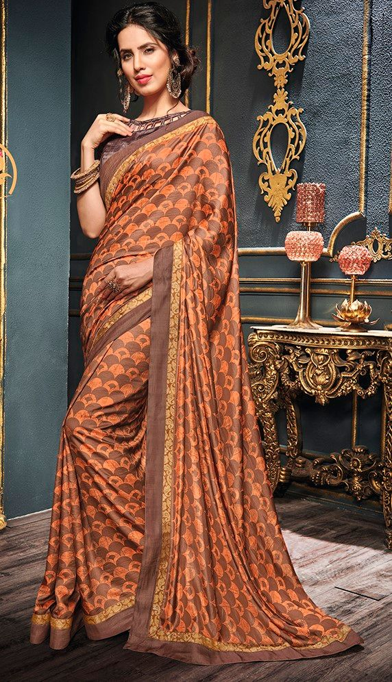 Peach & Brown Color Crepe Georgette Designer Function Wear Sarees : Gaurika Collection  NYF-1396 - YellowFashion.in