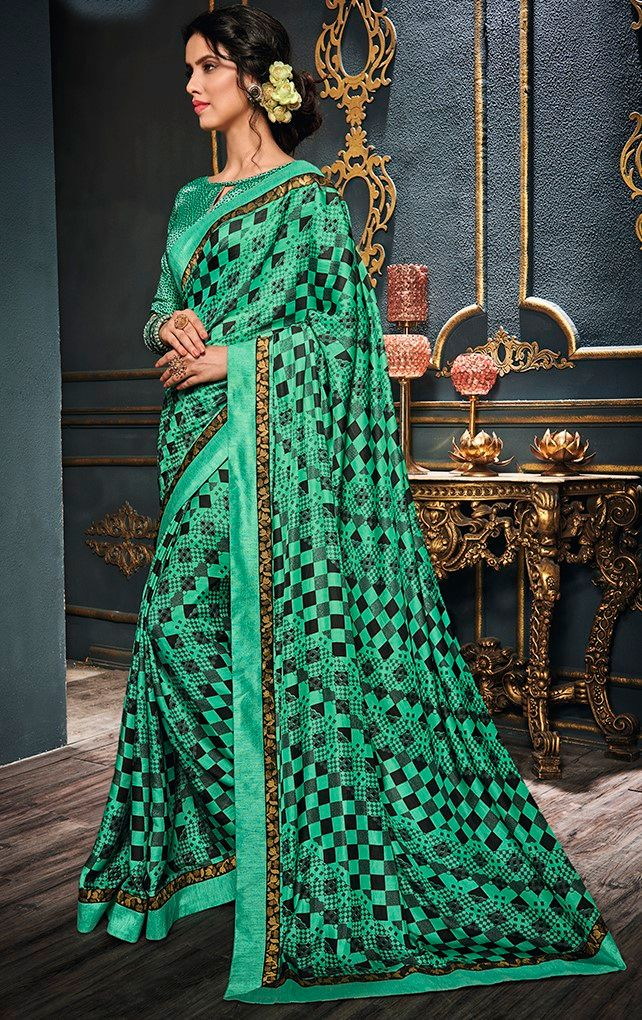 Green Color Crepe Georgette Designer Function Wear Sarees : Gaurika Collection  NYF-1397 - YellowFashion.in