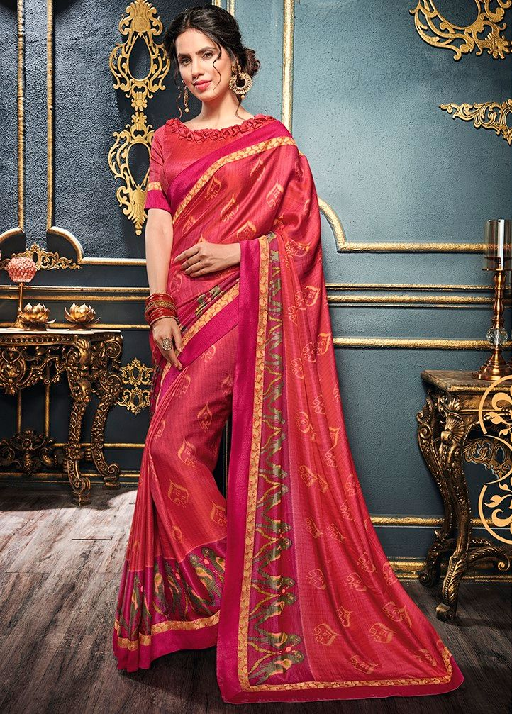 Gajjariya Color Crepe Georgette Designer Function Wear Sarees : Gaurika Collection  NYF-1398 - YellowFashion.in