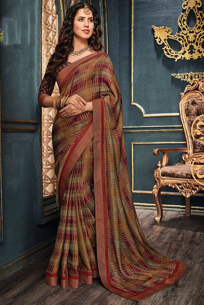 Multi Color Crepe Georgette Designer Function Wear Sarees : Gaurika Collection  NYF-1400 - YellowFashion.in