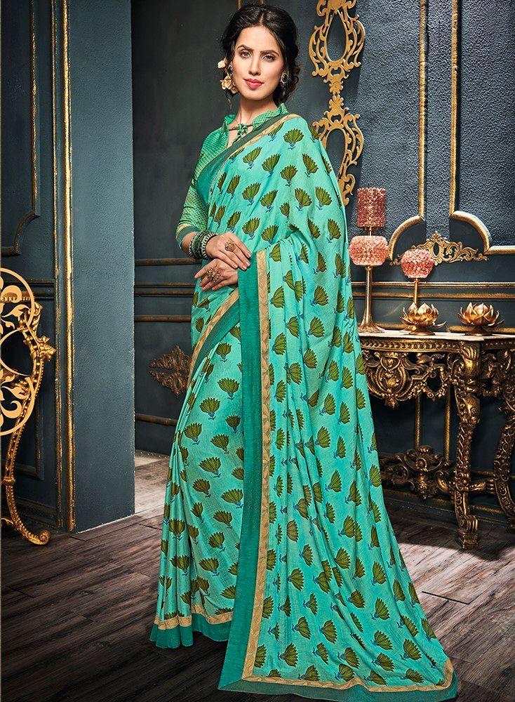 Sea Green & Green Color Crepe Georgette Designer Function Wear Sarees : Gaurika Collection  NYF-1401 - YellowFashion.in
