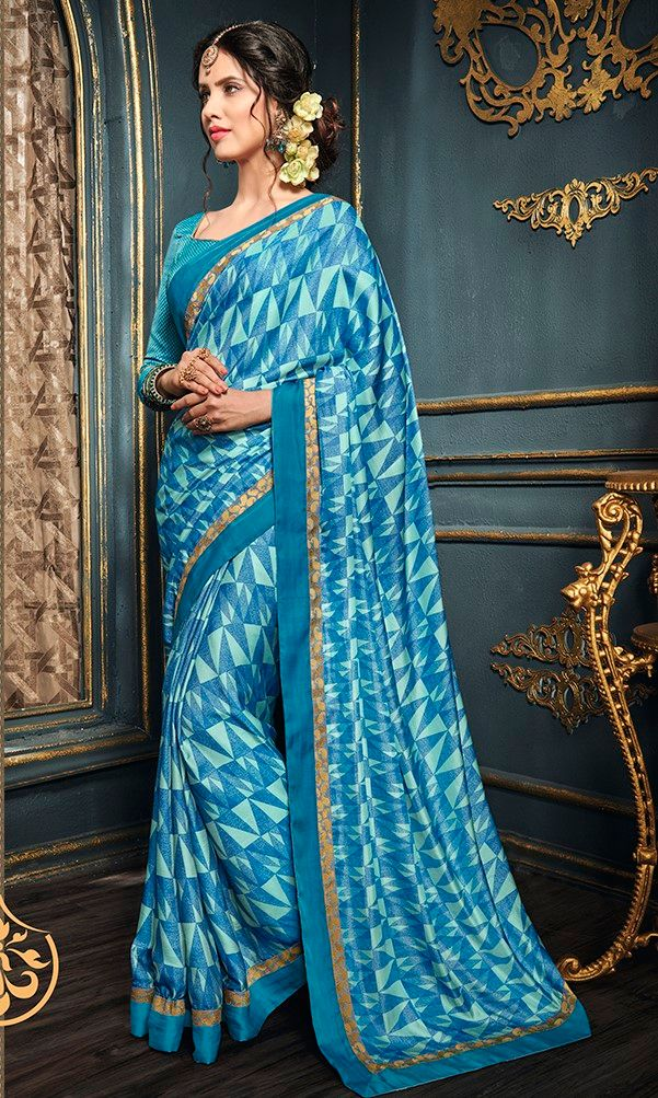 Sky Blue & Blue Color Crepe Designer Function Wear Sarees : Gaurika Collection  NYF-1403 - YellowFashion.in
