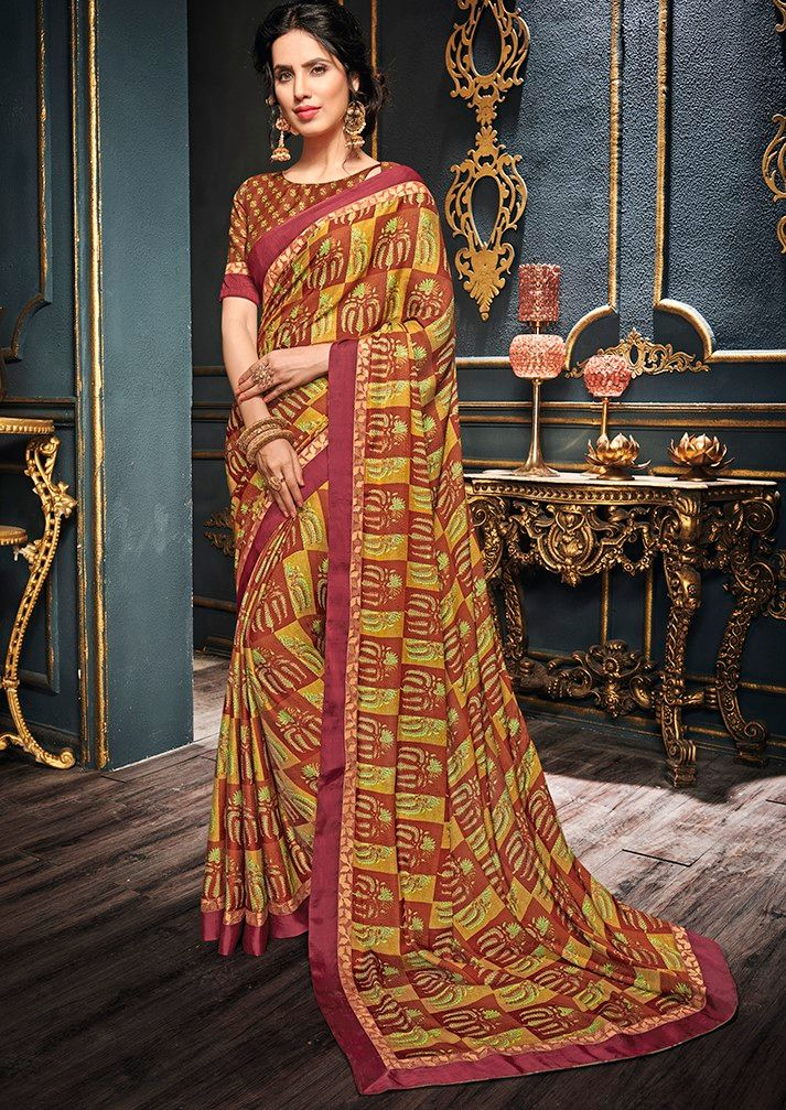 Multi Color Crepe Designer Function Wear Sarees : Gaurika Collection  NYF-1404 - YellowFashion.in