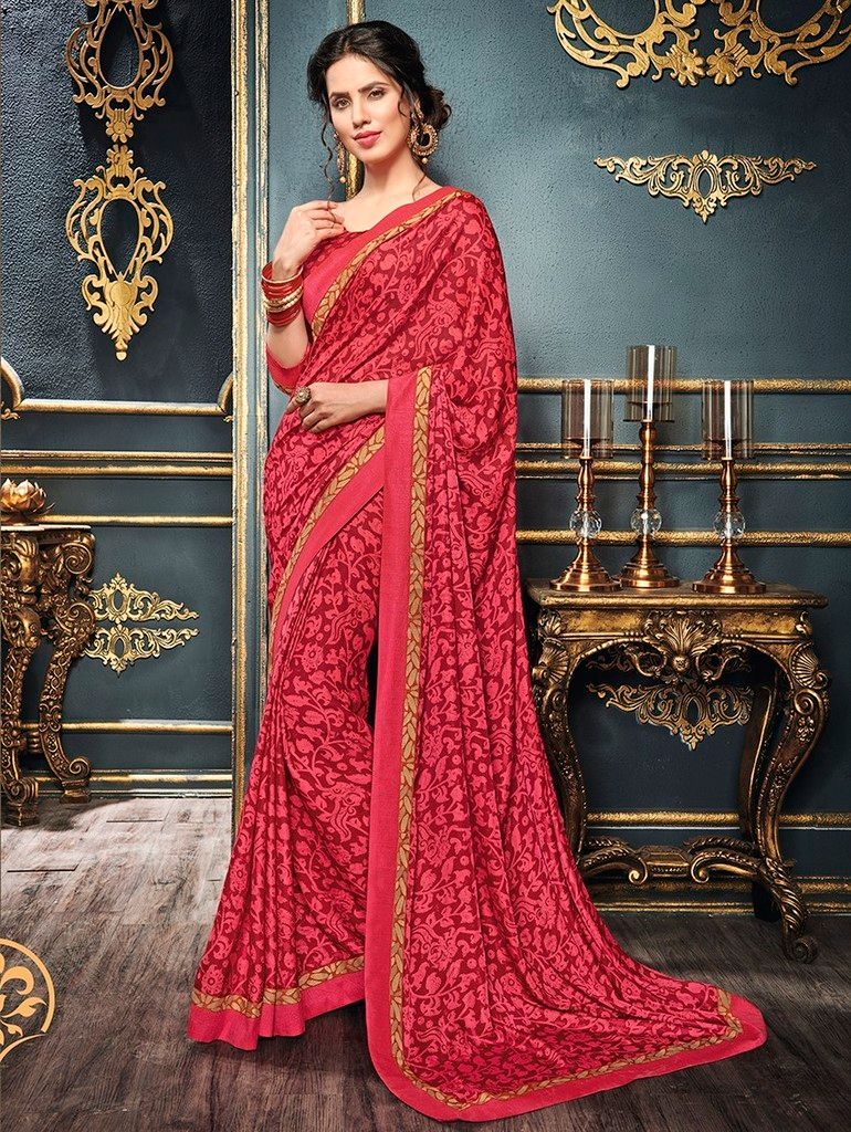 Red & Pink Color Crepe Designer Function Wear Sarees : Gaurika Collection  NYF-1405 - YellowFashion.in