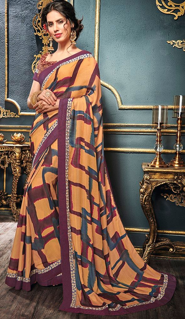 Orange & Purple Color Crepe Designer Function Wear Sarees : Gaurika Collection  NYF-1406 - YellowFashion.in