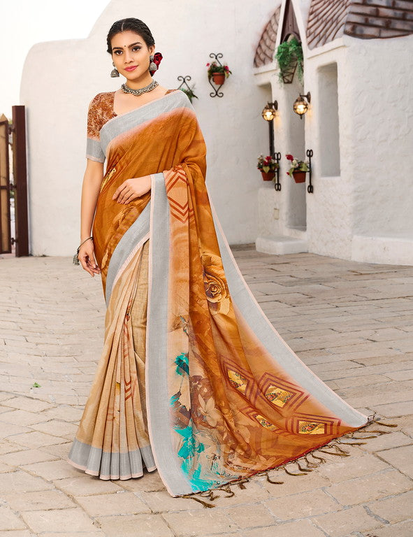 Shades of Brown Color Linen Casual Wear Saree -  Milano Collection  YF#11561